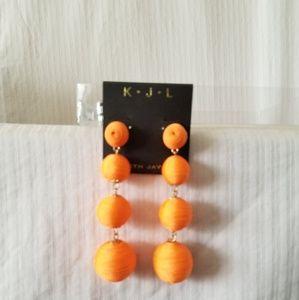 "Jewelry - Goldtone Orange ""Ball/Drop"" Pinup Earrings"